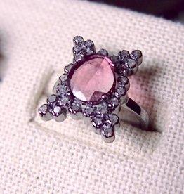 Eva Hanusova Jewelry Pink Tourmaline & Diamond Ring Size 7