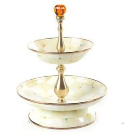 MacKenzie-Childs Parchment Check Two Tier Compote