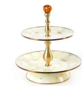 MacKenzie-Childs Parchment Check Two Tier Sweet Stand