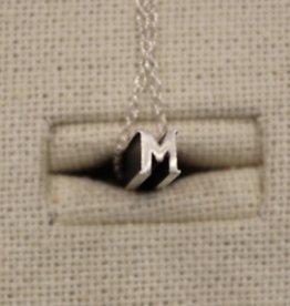"Beth Macri Silver Initial ""M"" Hidden Message Necklace"
