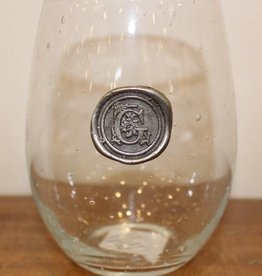 Southern Jubilee Stemless Wine Glass-Initial G