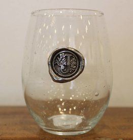 Southern Jubilee Stemless Wine Glass-Initial J