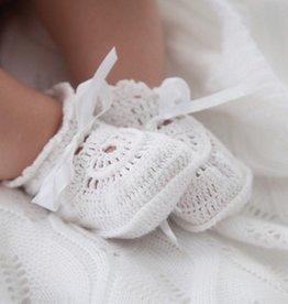 Elegant Baby Crochet White Baby Booties