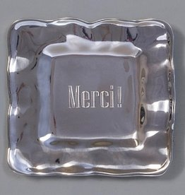 "Beatriz Ball Engraved Square Tray-""Merci"""