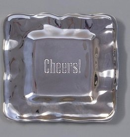 "Beatriz Ball Engraved Square Tray-""Cheers"""