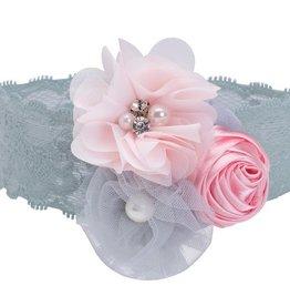 Elegant Baby Couture Headband-Gray/Pink