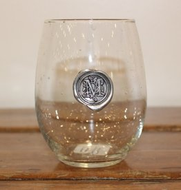 Southern Jubilee Stemless Wine Glass-Initial M