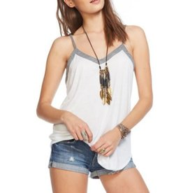 "Chaser Blocked Jersey Strappy ""V"" Back Shirttail Cami"