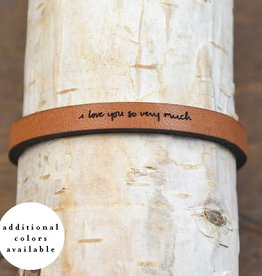 "Laurel Denise Brown ""I Love You So Very Much"" Leather Bracelet"