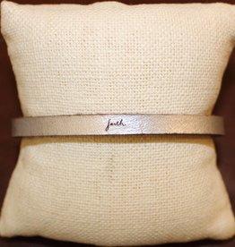 """Laurel Denise Silver """"Faith"""" Leather Bracelet"""