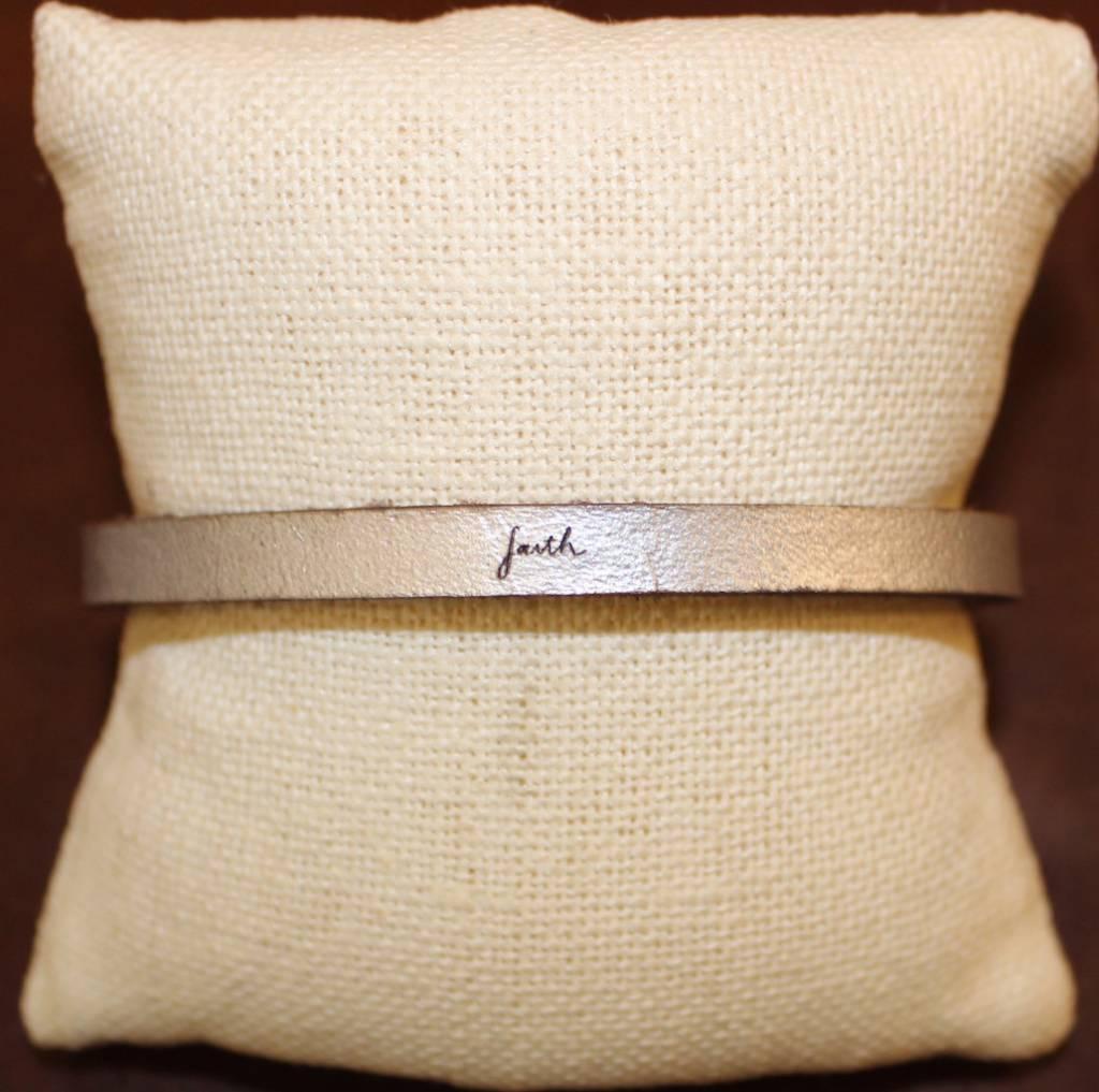 Laurel Denise Silver Faith Leather Bracelet
