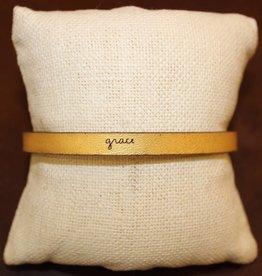 "Laurel Denise Gold ""Grace"" Leather Bracelet"