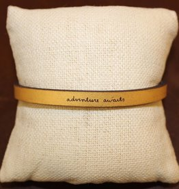 "Laurel Denise Gold ""Adventure Awaits"" Leather Bracelet"