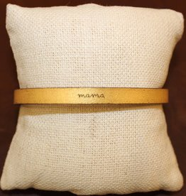 "Laurel Denise Gold ""Mama"" Leather Bracelet"