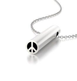 Beth Macri Silver Peace Sign Hidden Message Necklace