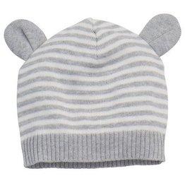 Elegant Baby Gray Stripe Knit Hat 3-12 Months