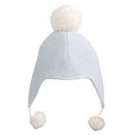 Elegant Baby Aviator Hat Pom Blue- 0-12M