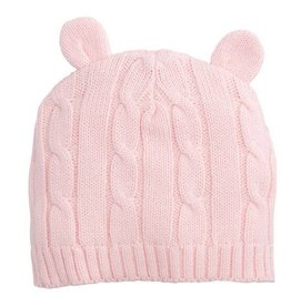 Elegant Baby Classic Cable Hat Ears- Super Pastel Pink