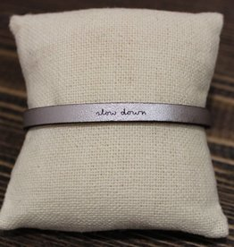 "Laurel Denise Silver ""Slow Down"" Leather Bracelet"
