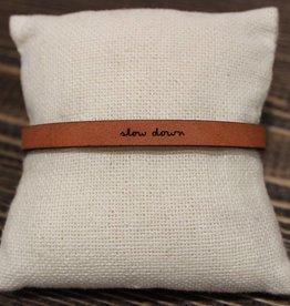 "Laurel Denise Brown ""Slow Down"" Leather Bracelet"