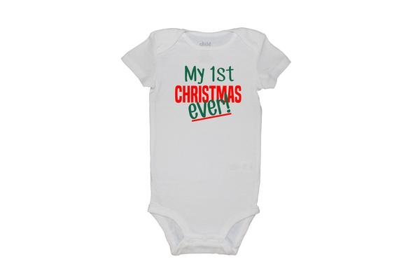 ts and tots infant my first christmas ever white onesie