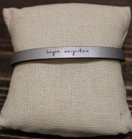 """Laurel Denise Silver """"begin anywhere"""" Leather Bracelet"""
