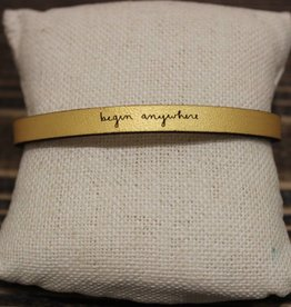 "Laurel Denise Gold ""begin anywhere"" Leather Bracelet"