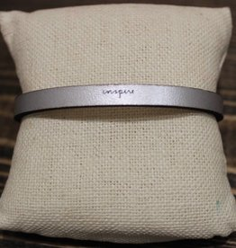"Laurel Denise Silver ""Inspire"" Leather Bracelet"