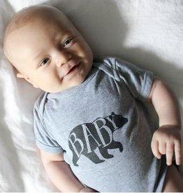 Oyster's Pearl Baby Bear Onesie Grey