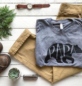 Oyster's Pearl Papa Bear Crew Neck Tee-Grey