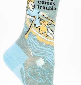 Blue Q Women's Socks Here Comes Trouble