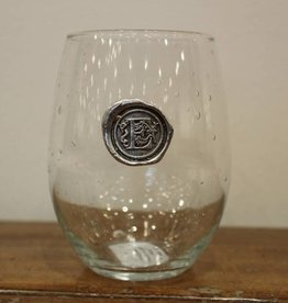 Southern Jubilee Stemless Wine Glass -Initial E