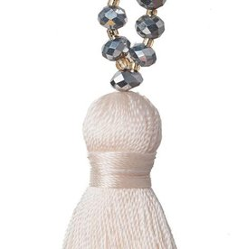 Amadoria Talya Tassel Necklace - Cream/Silver
