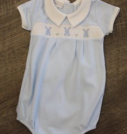 Magnolia Baby Collared Smocked Boy Bubble - Blue