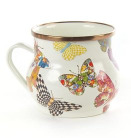 MacKenzie-Childs Butterfly Garden Enamel Mug White