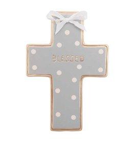 Elegant Baby Ceramic Cross Wall Art - Gray Dot