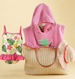 baby ASPEN Tropical Four Piece Gift Set With Raffia Tote For Mom