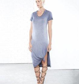 Fifteen Twenty Side Slit T-Shirt Dress- Blue