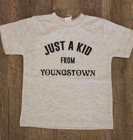 T's and Tots Toddler Just A Kid From Youngstown Light Grey Tee