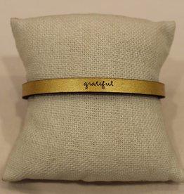 """Laurel Denise Gold """"Grateful"""" Leather Bracelet"""