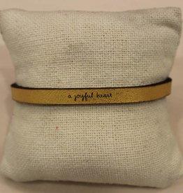 "Laurel Denise Gold ""Joyful Heart"" Leather Bracelet"