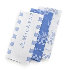 MacKenzie-Childs Wild Rose Dish Towels-Blue-Set of 3