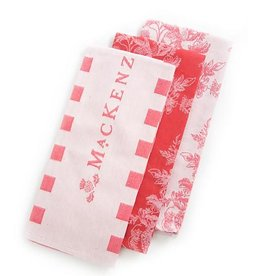 MacKenzie-Childs Wild Rose Dish Towels-Red-Set Of 3