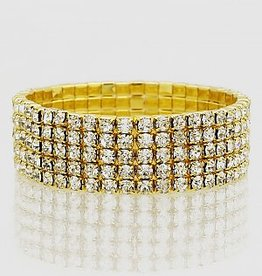 Bijoux USA Five Row Rhinestone Bracelet-Gold