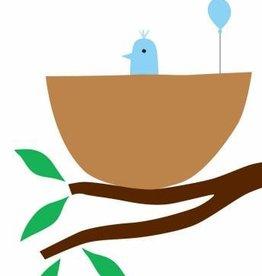 R. Nichols Baby Bird Blue Greeting Card