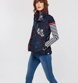 Joules Collared Padded Jacket-Navy Floral