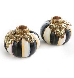 MacKenzie-Childs Courtly Stripe Pumpkin Candlesticks - Set of 2