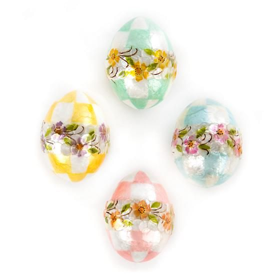 MacKenzie-Childs Pastel Floral Eggs - Small - Set of 4