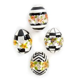MacKenzie-Childs Black & White Floral Eggs - Small - Set of 4