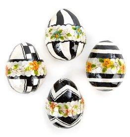 MacKenzie-Childs Black & White Floral Eggs - Medium - Set of 4